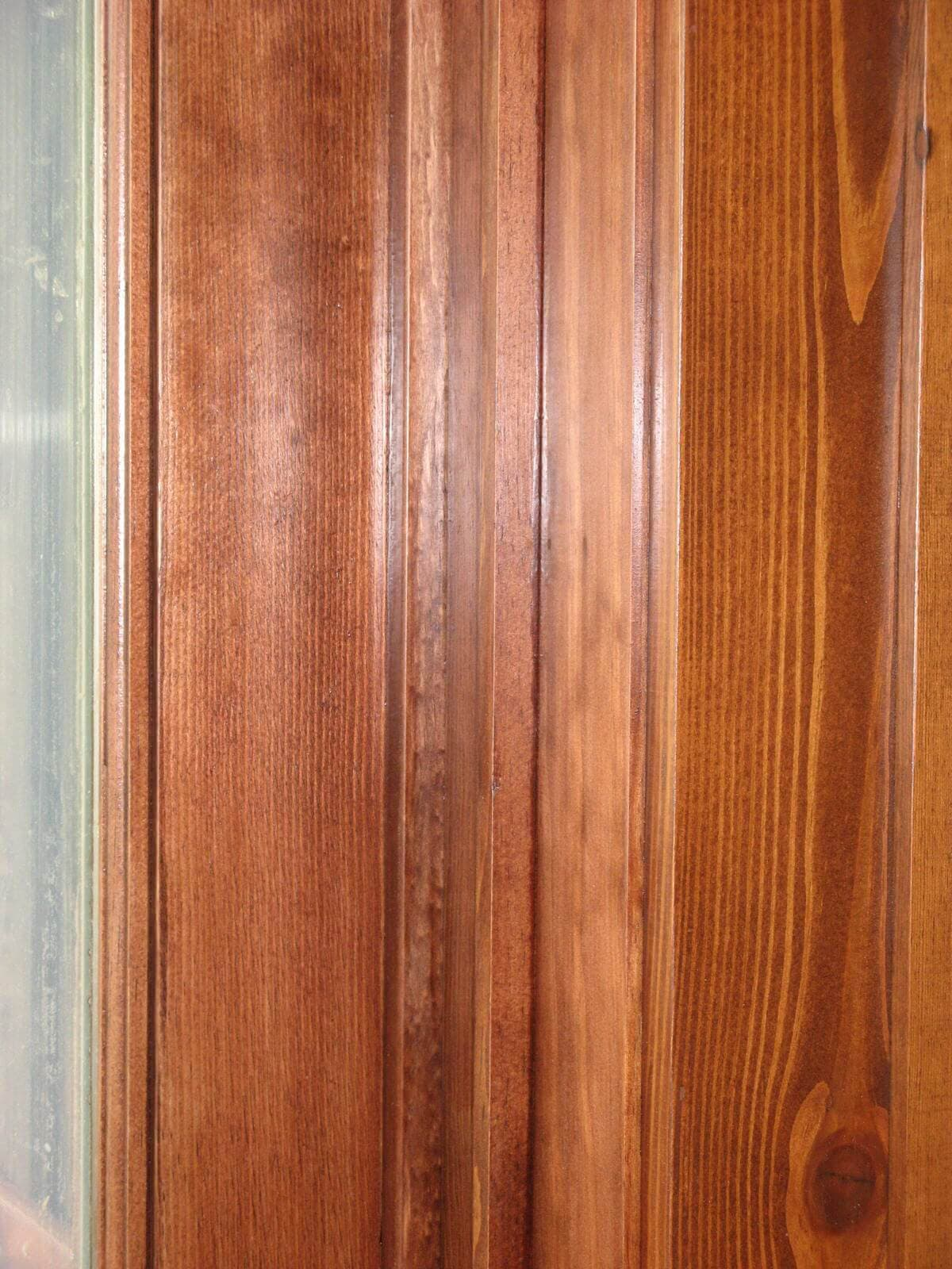 closeup detail or reclaimed heart pine door or window casing