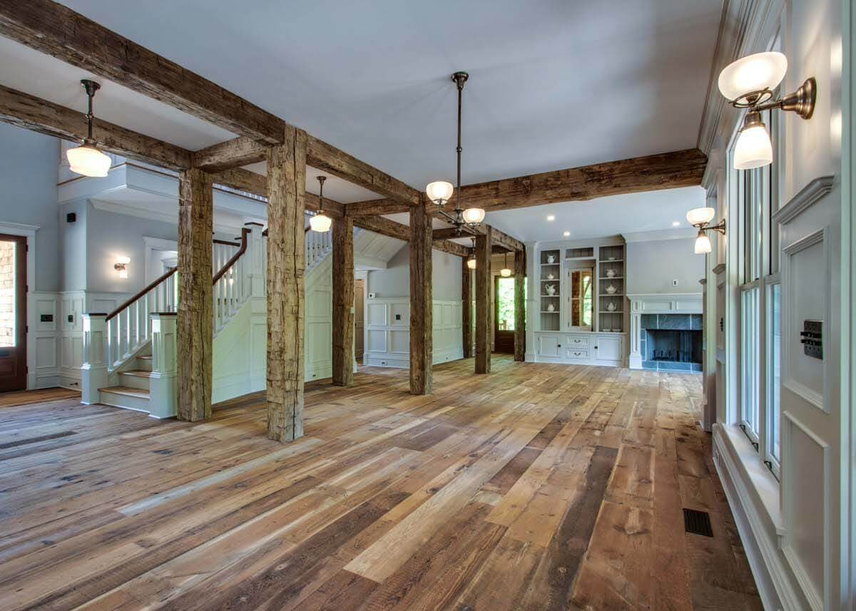 Hand hewn post and beams in Lewes, Delaware residence