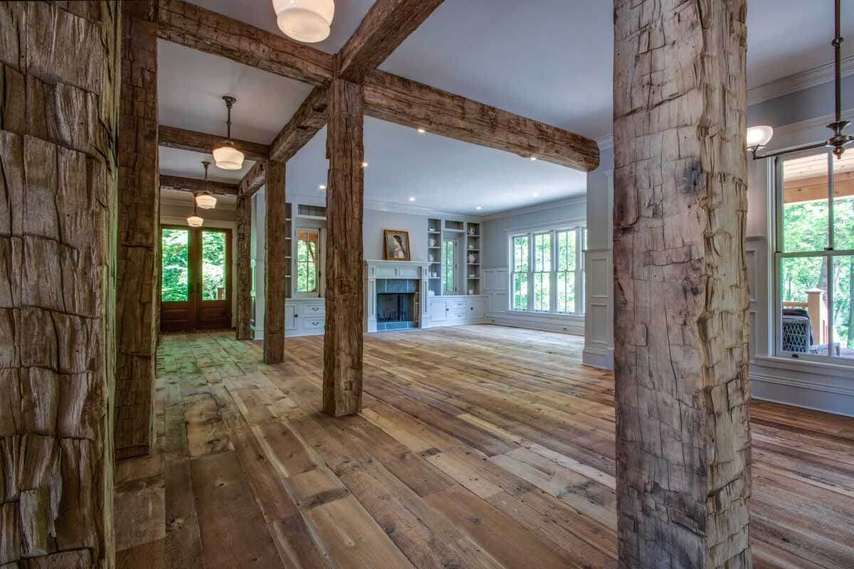 Hand hewn post and beams spaces in Lewes, Delaware residence