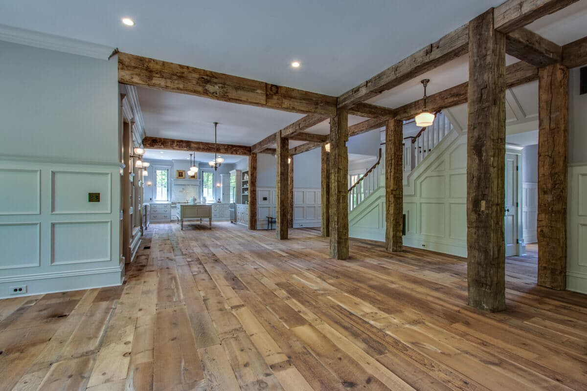 Hand hewn reclaimed posts and beams near Lewes, Delaware