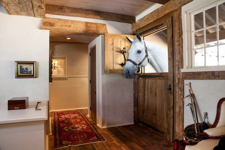 Hand hewn beams and a horse at the Equestrian Center Tryon NC