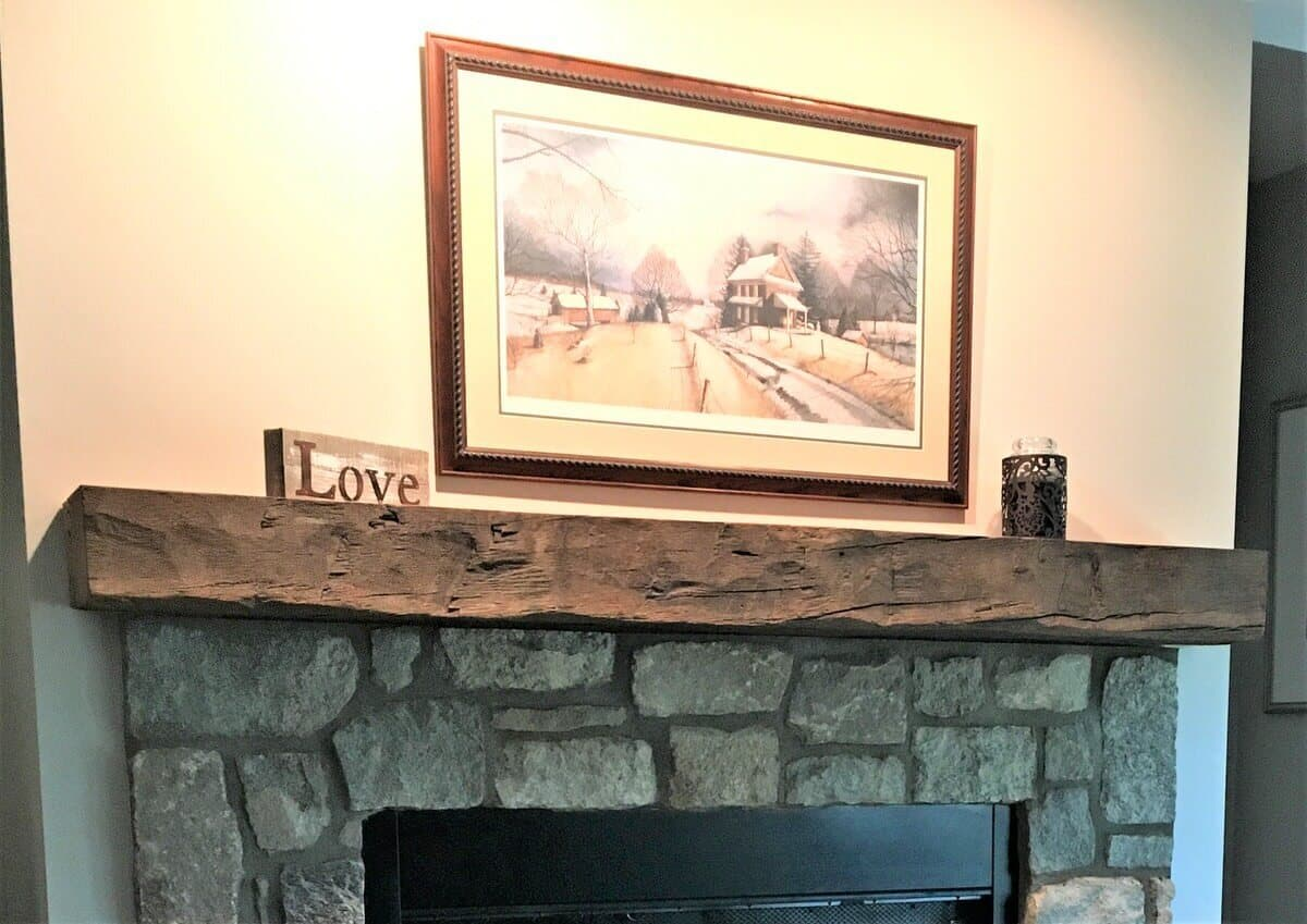 Hand hewn hardwood mantel in black mountain nc