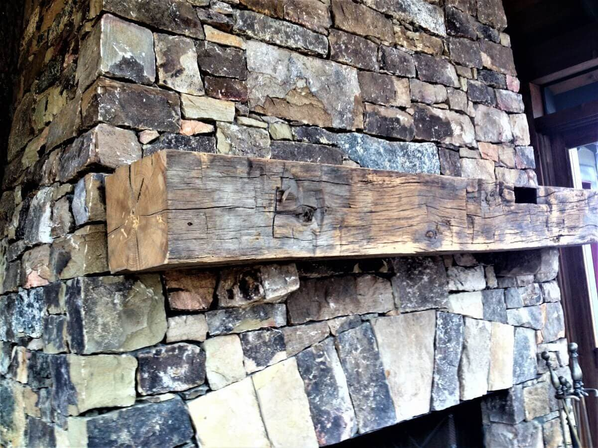 Hand hewn mantel with mortise and Unfinished in black mountain nc