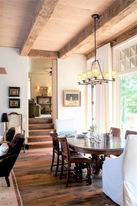 Hand hewn reclaimed white oak floor and beams near Tryon, NC