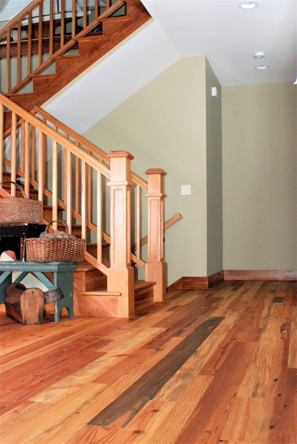 Heart pine at stairway in hendersonville nc