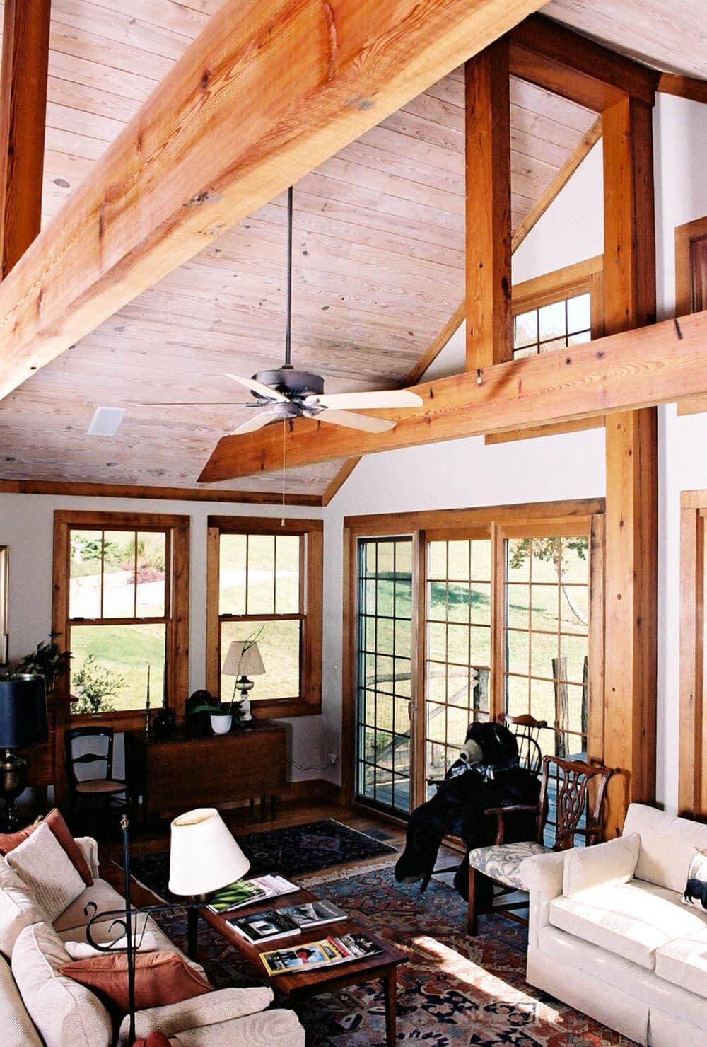 Heart pine beams in Travelers Rest, SC