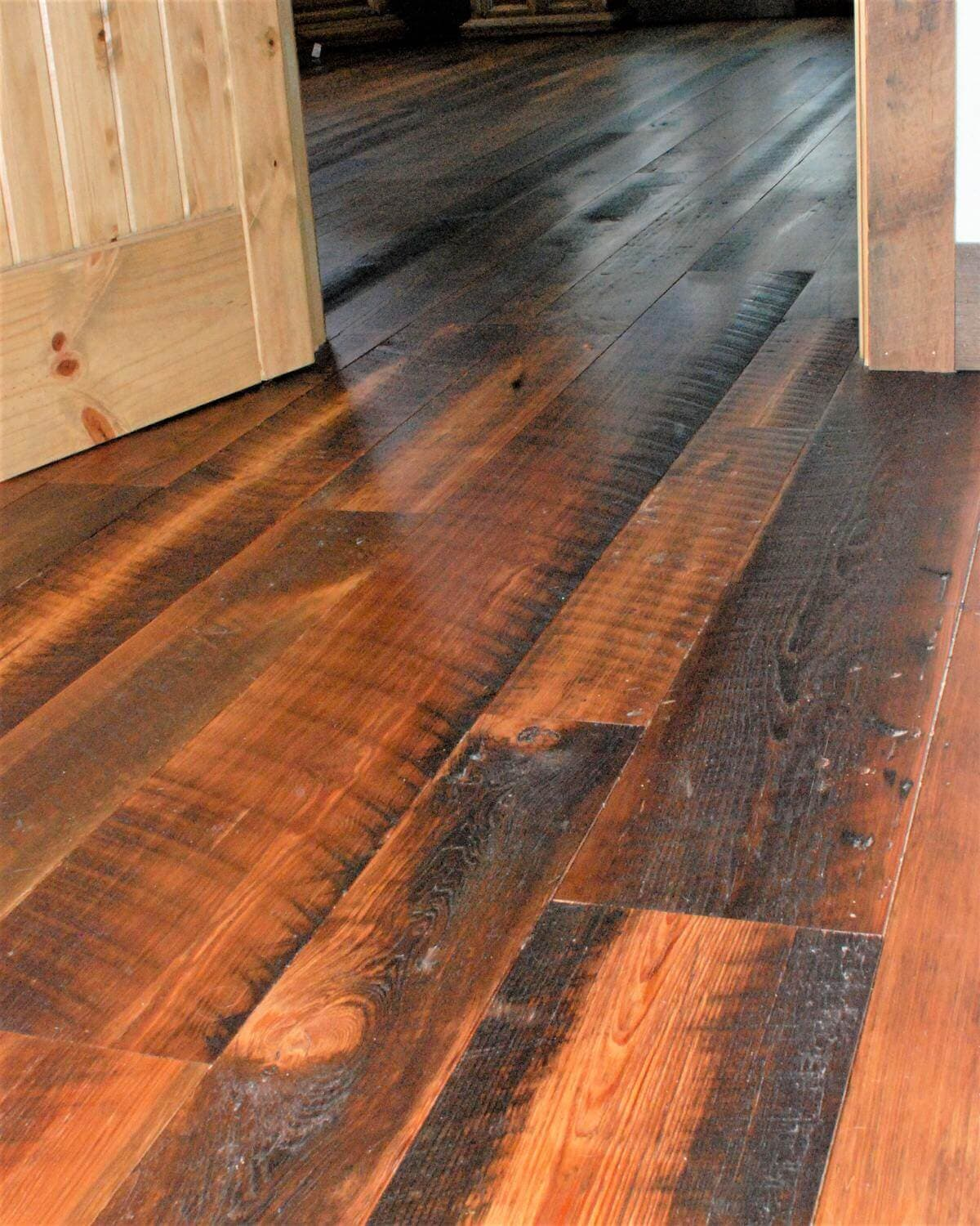 Heart pine character flooring in a hallway