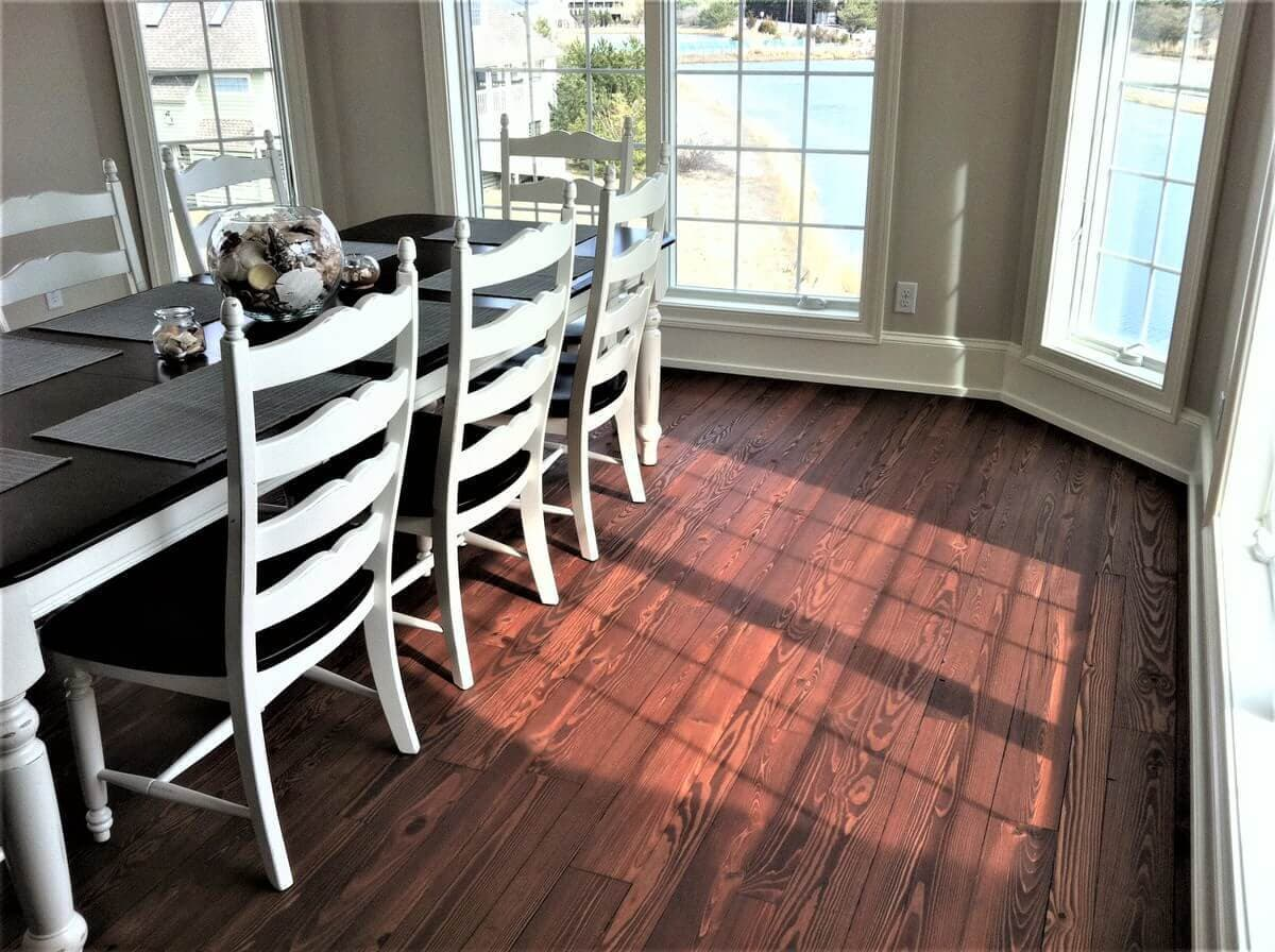 Heart pine classic grain floor at beach house on Maryland shore