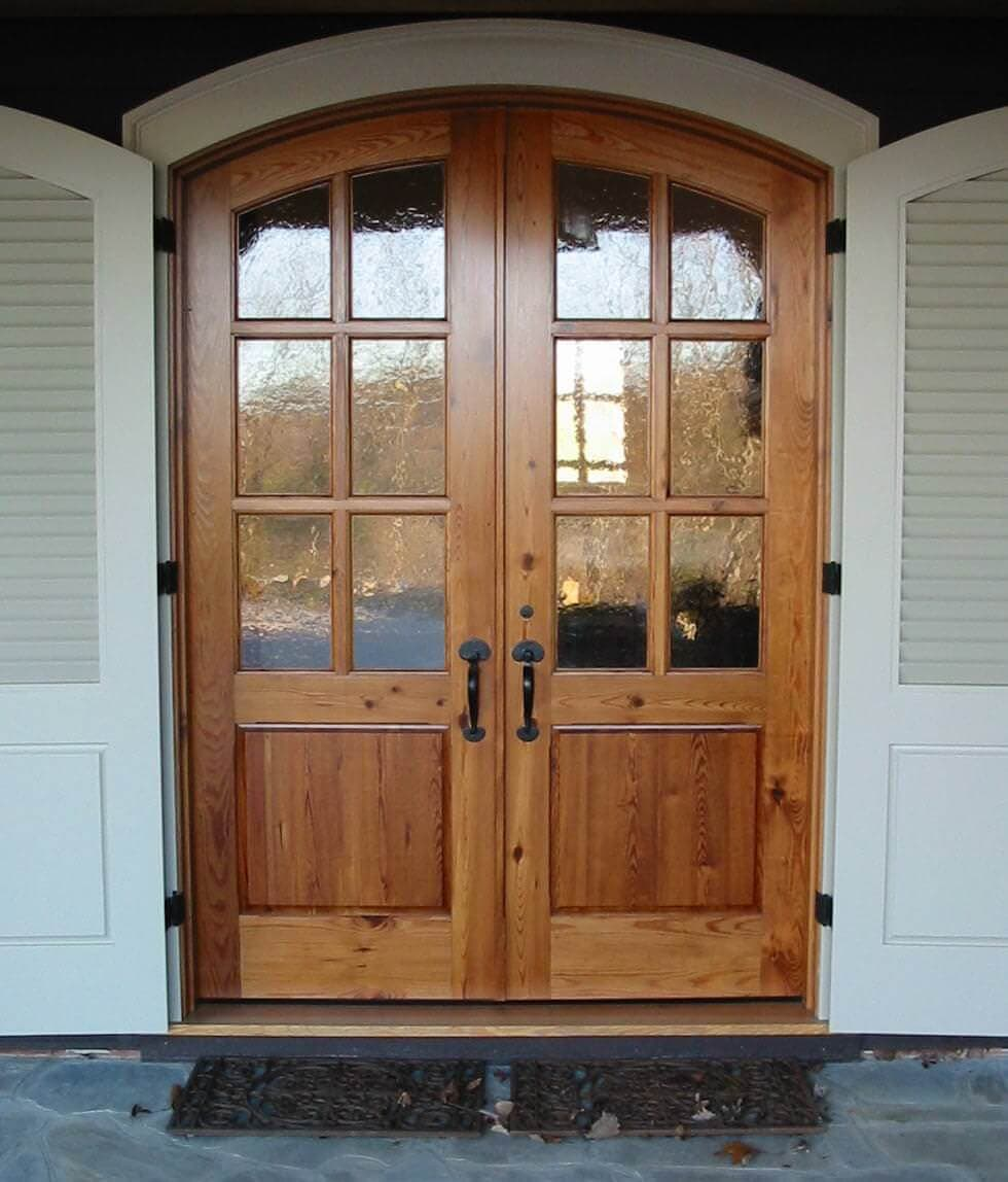 Heart pine entry doors at a country club in lake toxaway nc