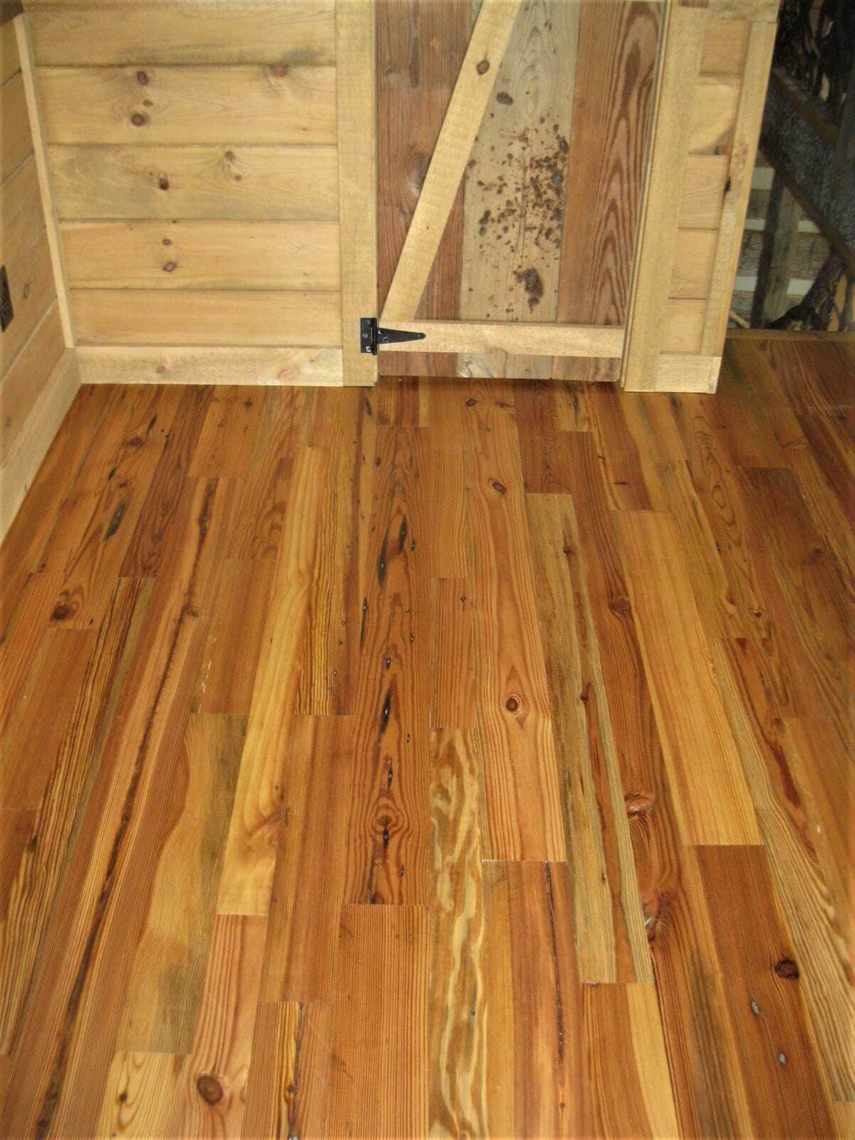 Heart pine reclaimed Cabin Grade barber  home hendersonville 2