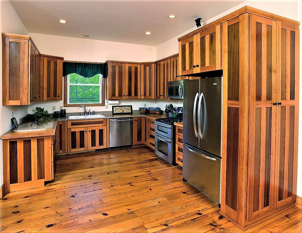 reclaimed wood kitchen with heart pine and redwood cabinets and flooring
