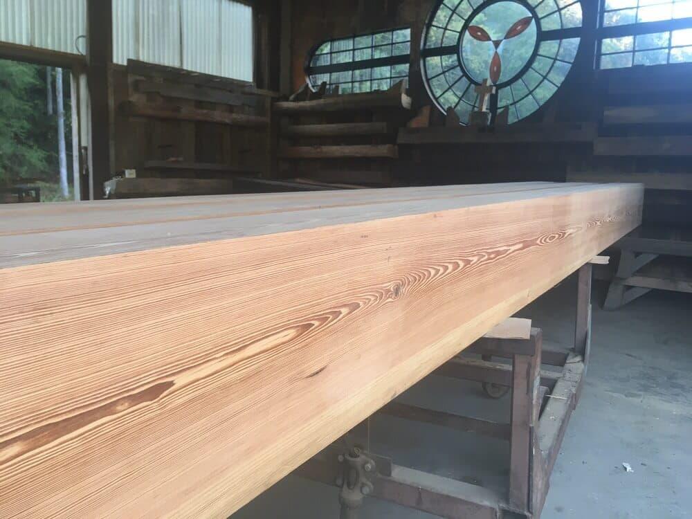 Heart pine mooth box beams