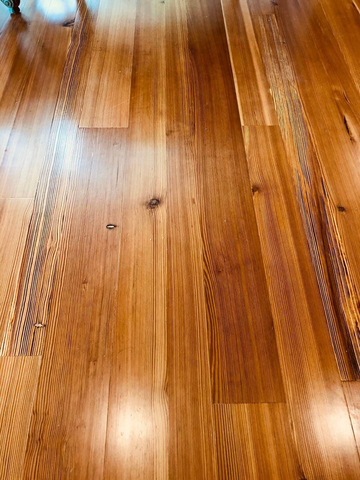 closeup of heart pine vertical grain floor boards