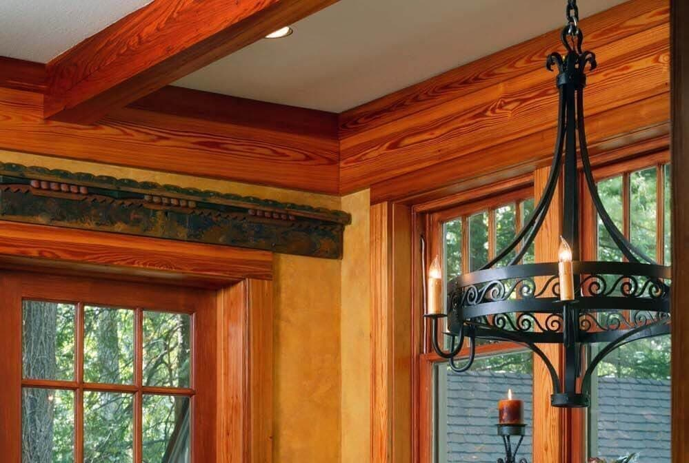 Solid heart pine ceiling beam.