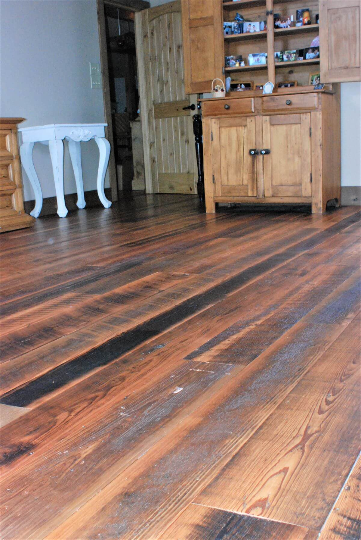 natural patina heart pine character flooring near hendersonville, nc