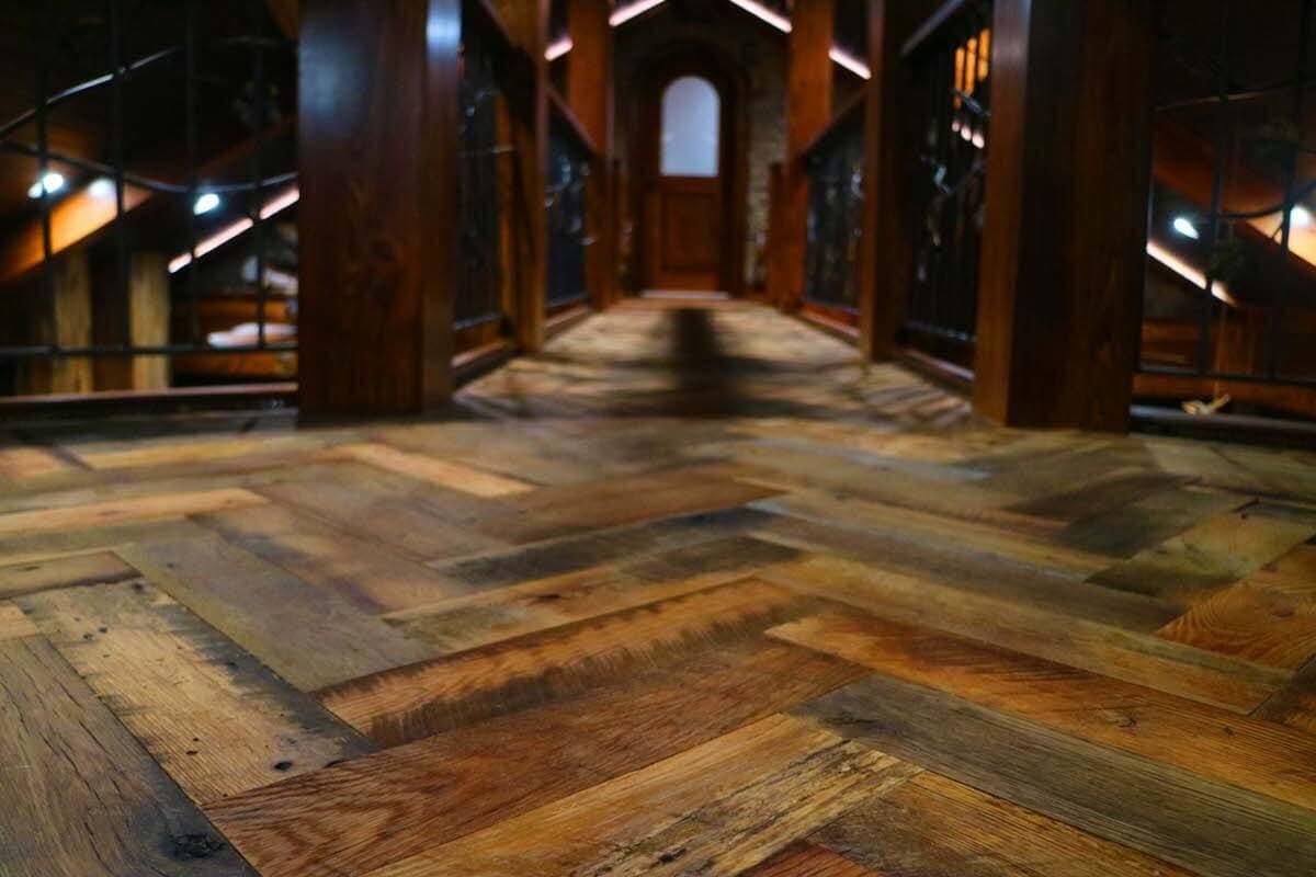 reclaimed oak floor herringbone pattern near lake toxaway nc