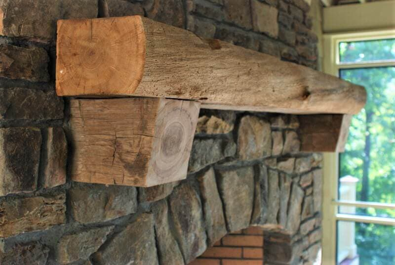 live edge fireplace mantel with cross grain corbels