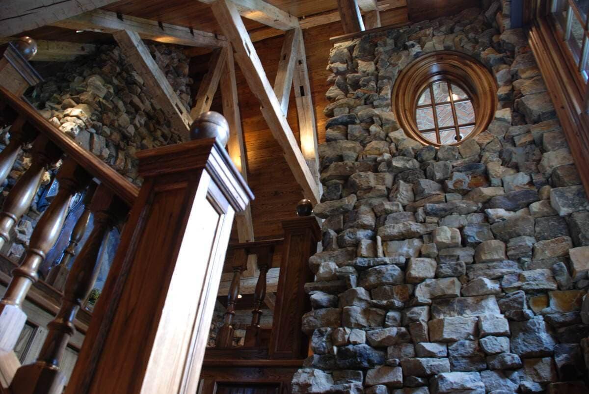 Looking toward the light thru a circular reclaimed wood window
