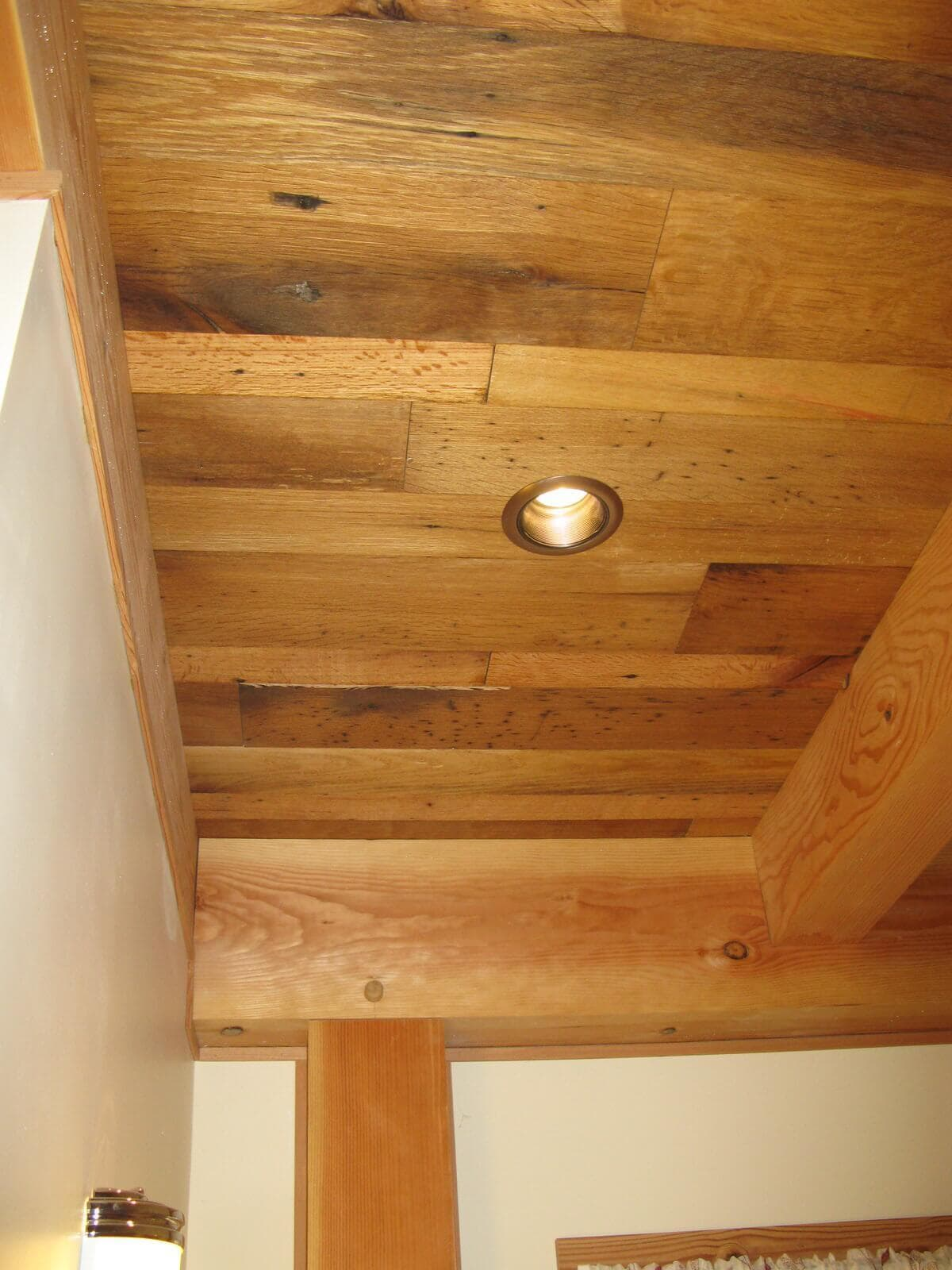 Classic Smooth antique oak ceiling at Lake James NC