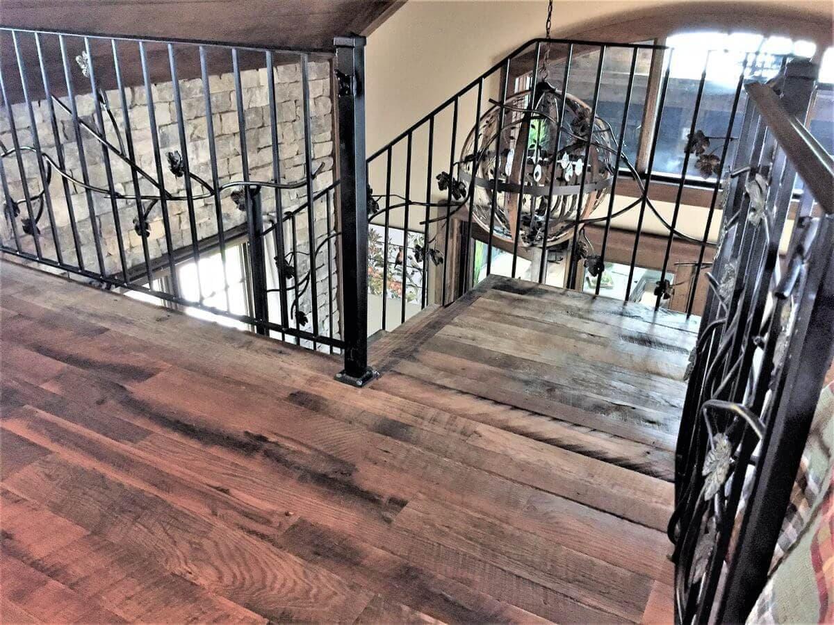 oak floor stair landing near lake toxaway nc