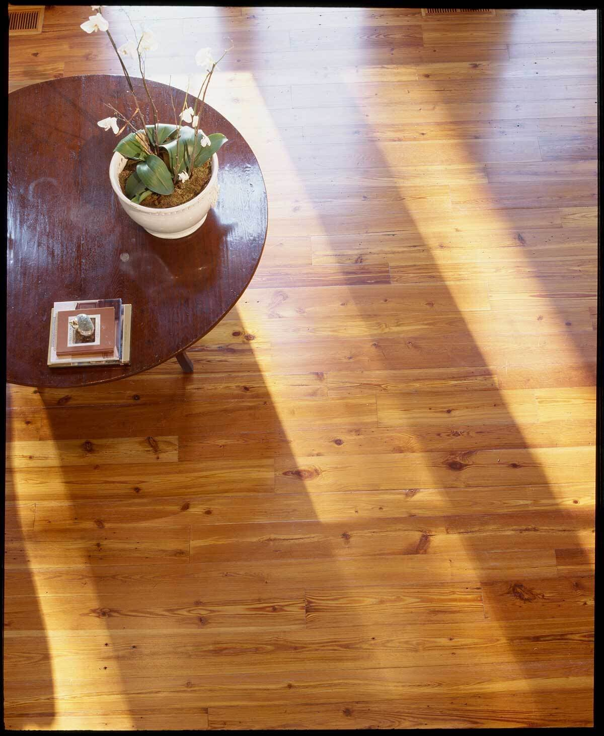Plain sawn reclaimed heart pine courtesy Timberstone, Hilton Head, SC