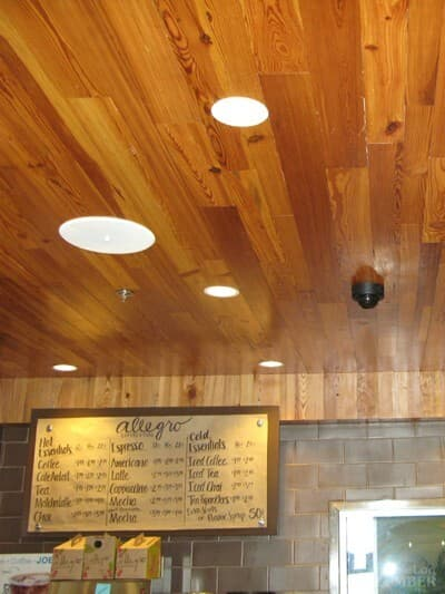 The Whole Foods in Raleigh utilizing Whole Log Reclaimed ceiling wood to earn LEED points.