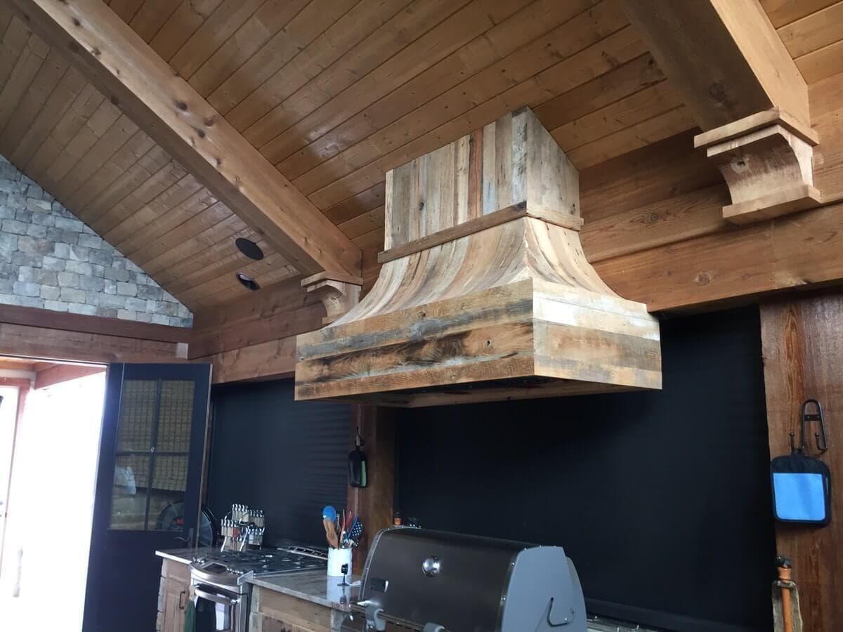 reclaimed wood range hood trim cladding