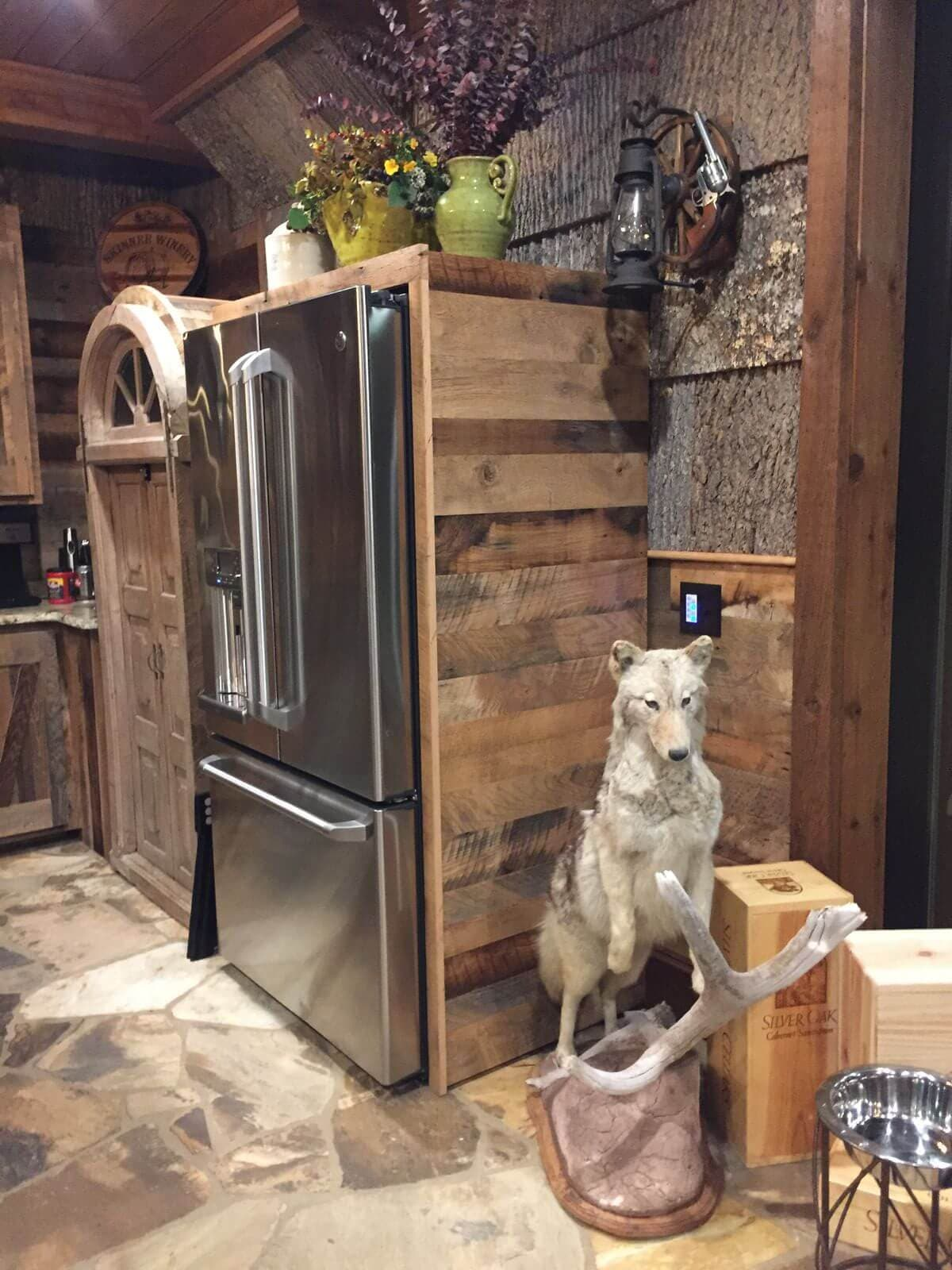 Reclaimed wood framing a refrigerator at mountain air rv resort