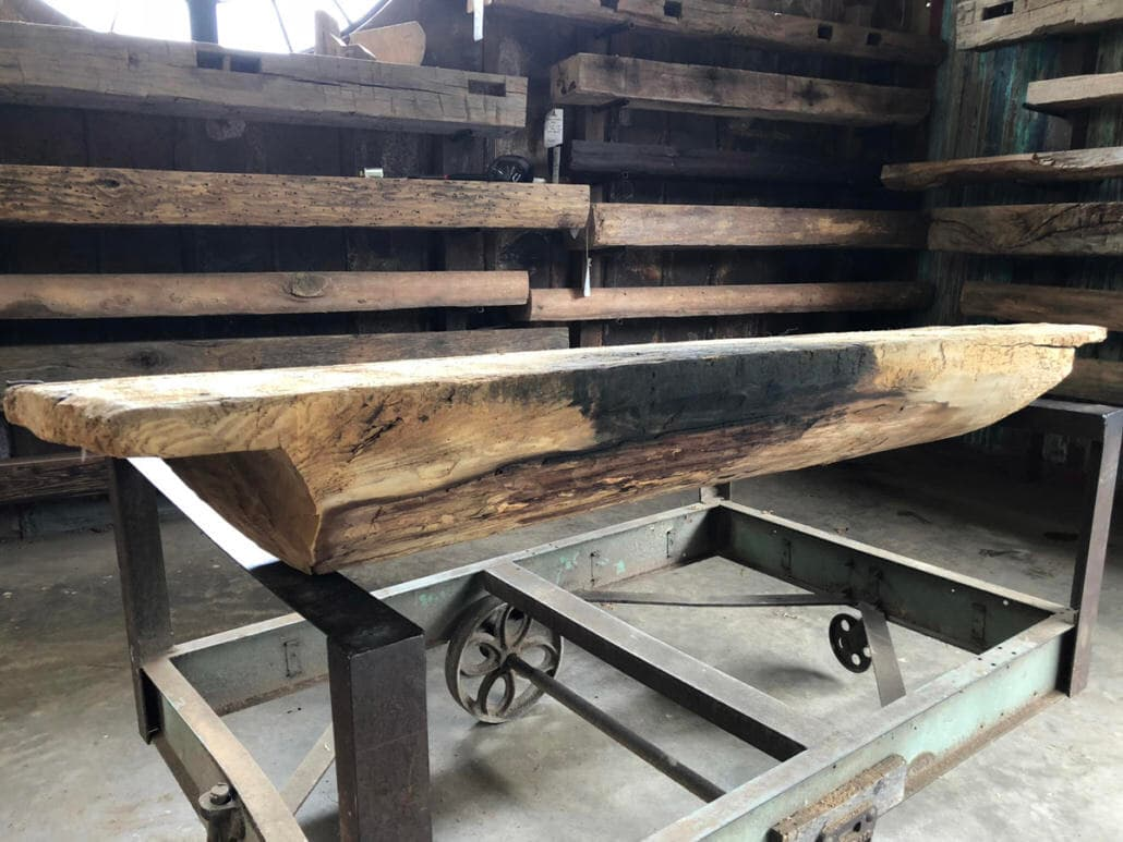 Reclaimed wood Ash mantel for sale.