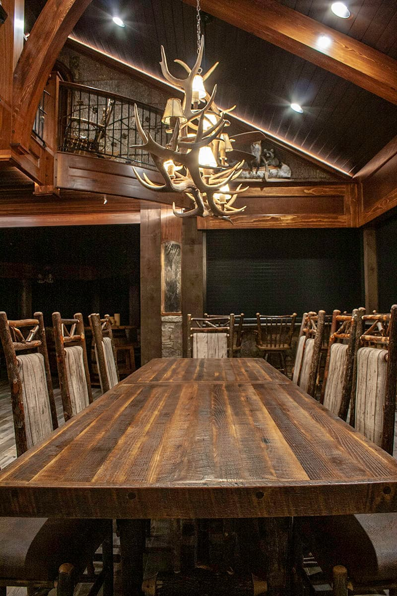 Reclaimed character oak gathering table poly finish - Mountain Air Rv Resort, Lake Toxaway, NC