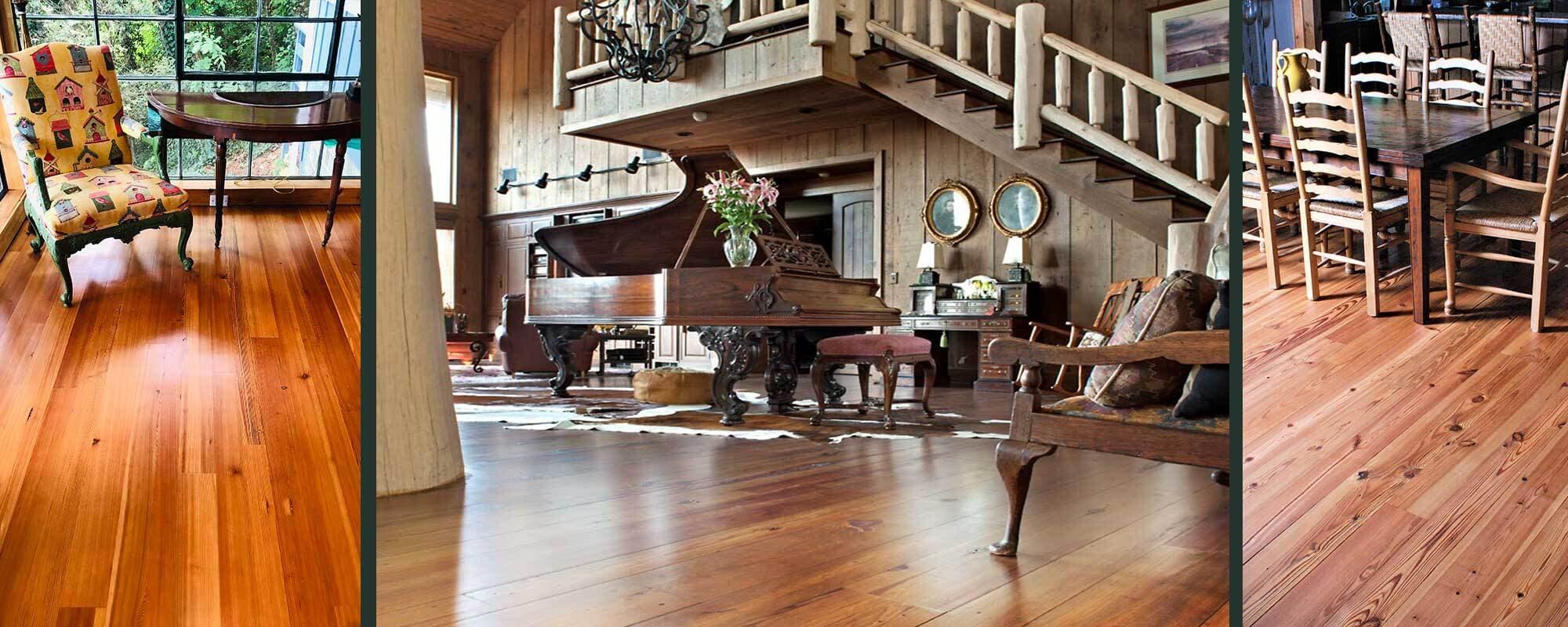 Carolina Classic style old wood flooring examples.