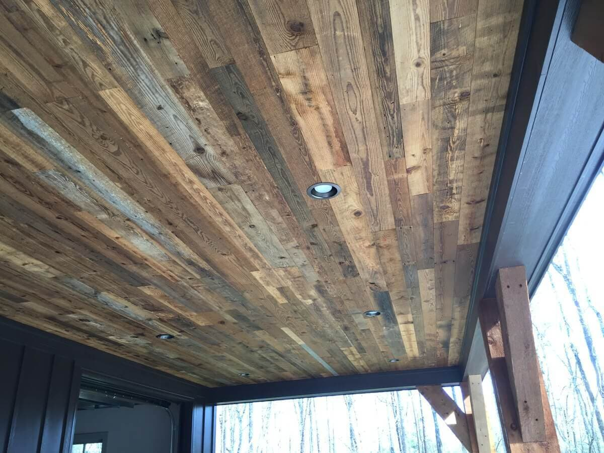 reclaimed character georgia pine under a porch ceiling - SC