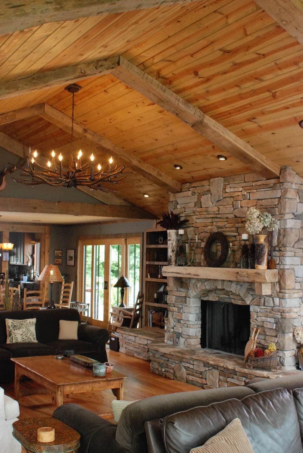 Reclaimed hand hewn beams in Hendersonville NC home.