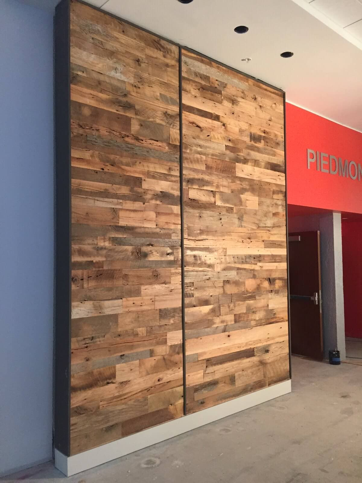 Reclaimed hardwood 2-sectioned accent wall