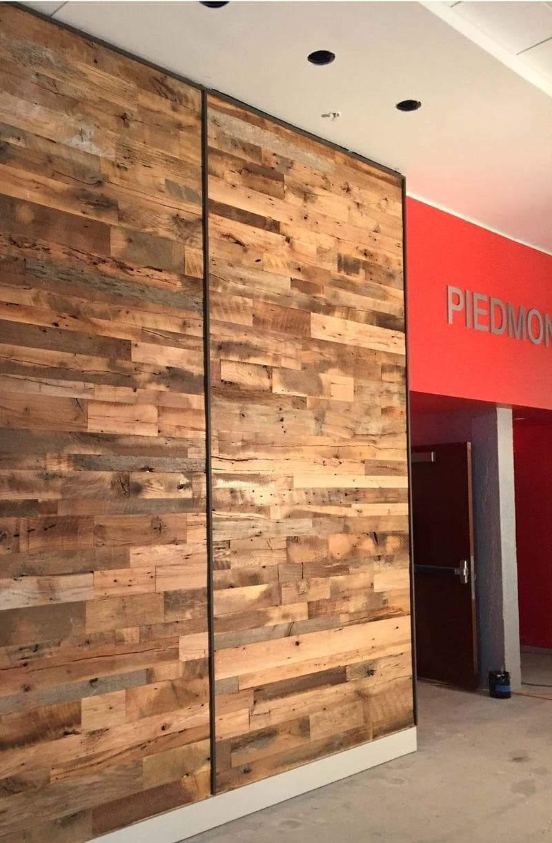 Reclaimed hardwood accent wall in commercial space.