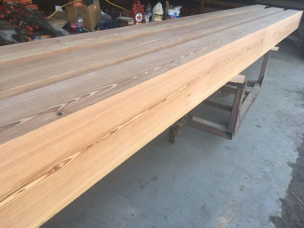 Reclaimed heart pine box beams