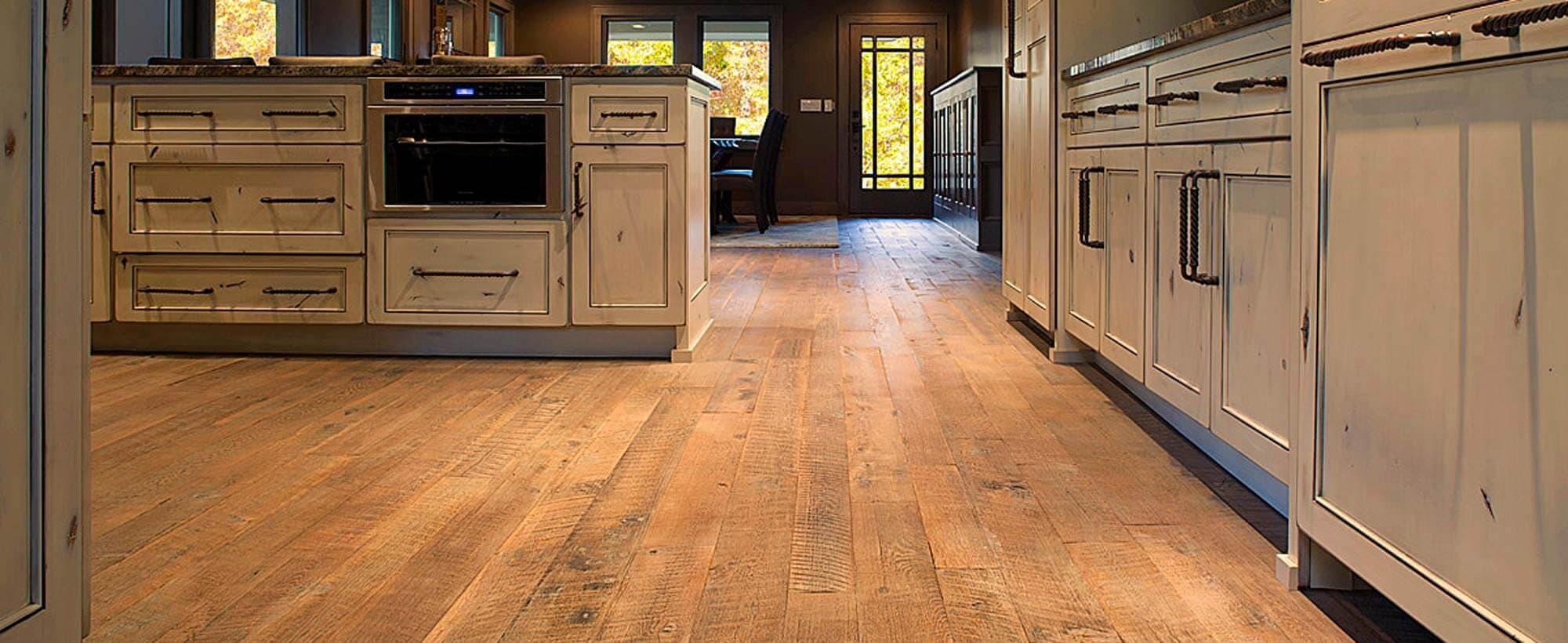 Reclaimed oak flooring in Candler North Carolina kitchen.