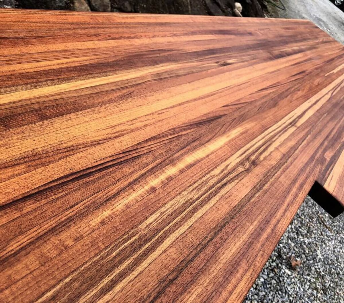 Reclaimed antique Teak butcher block counter top ready for installation.