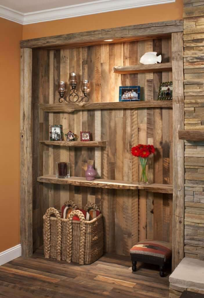 Reclaimed wall cladding and enclosed book shelf in Flat Rock NC