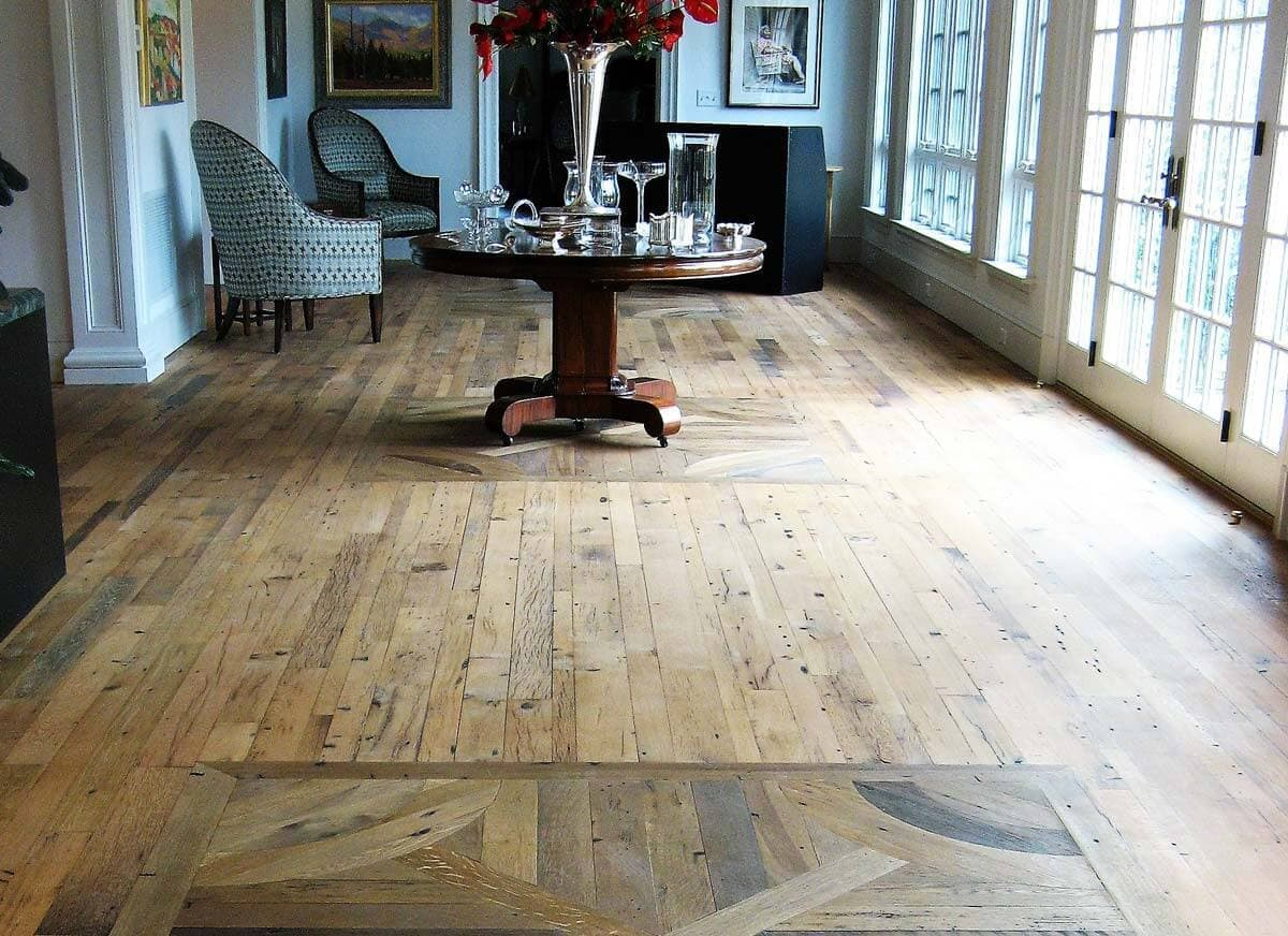 Reclaimed White Oak flooring with inlay