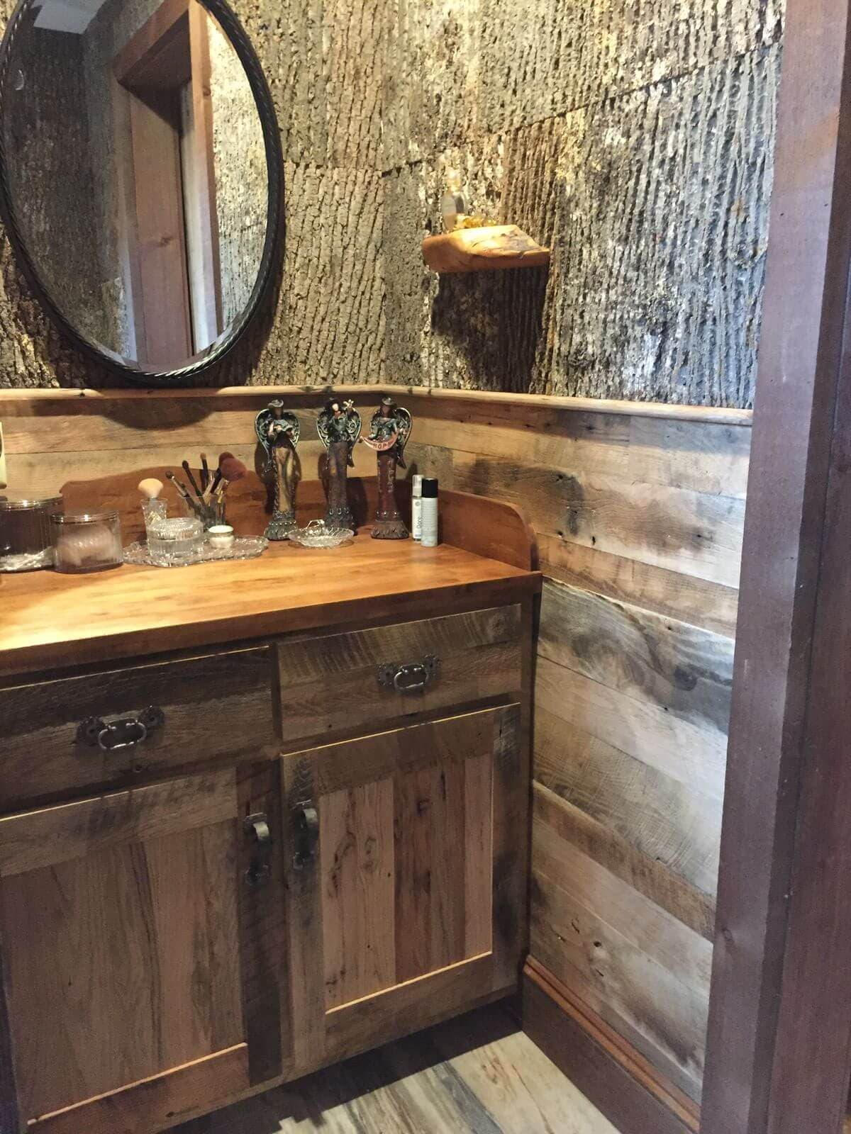 Reclaimed wood character in a bathroom in lake toxaway, nc