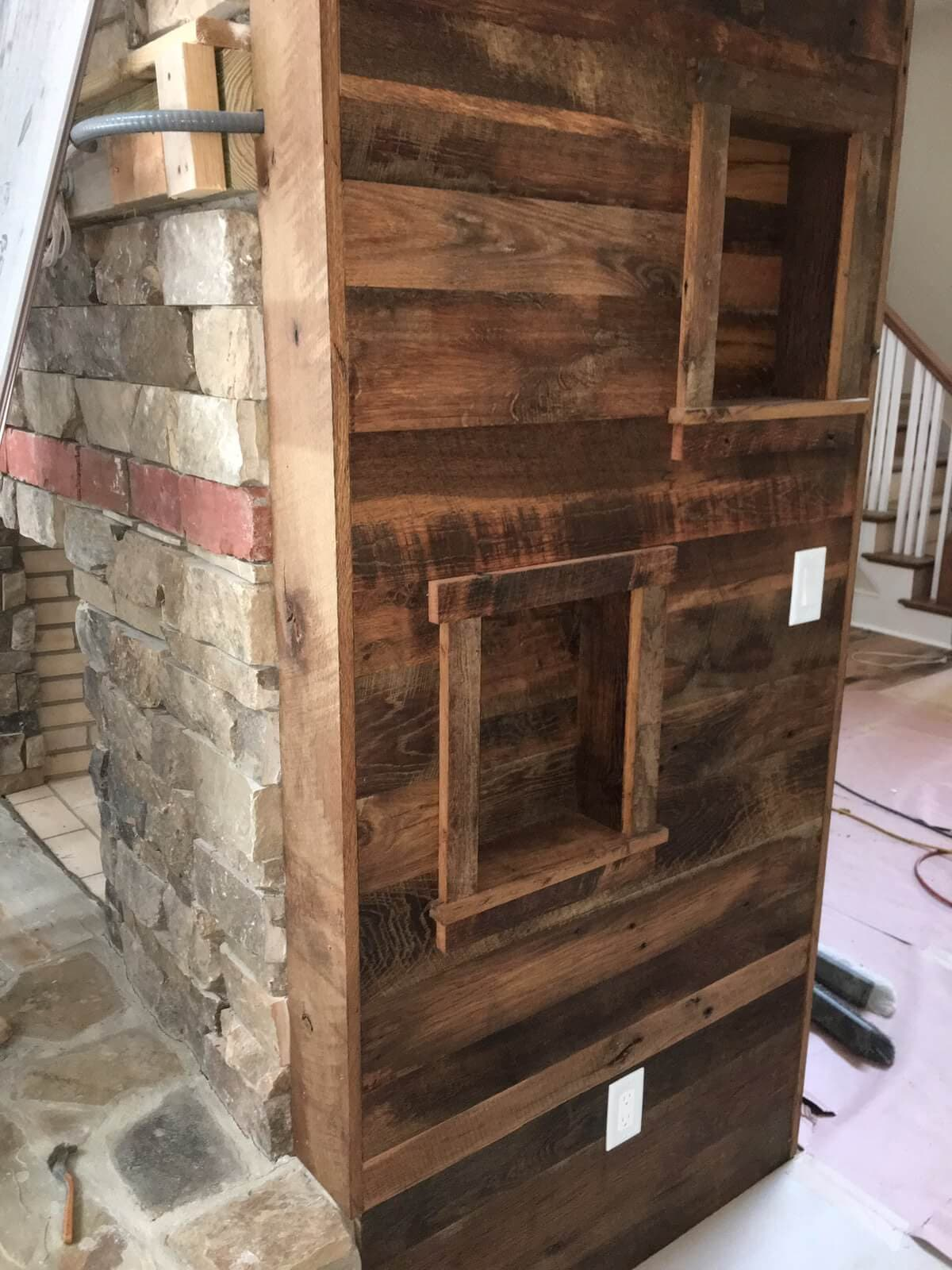 reclaimed wood fireplace utility side wall of 2-room open fireplace in saluda nc