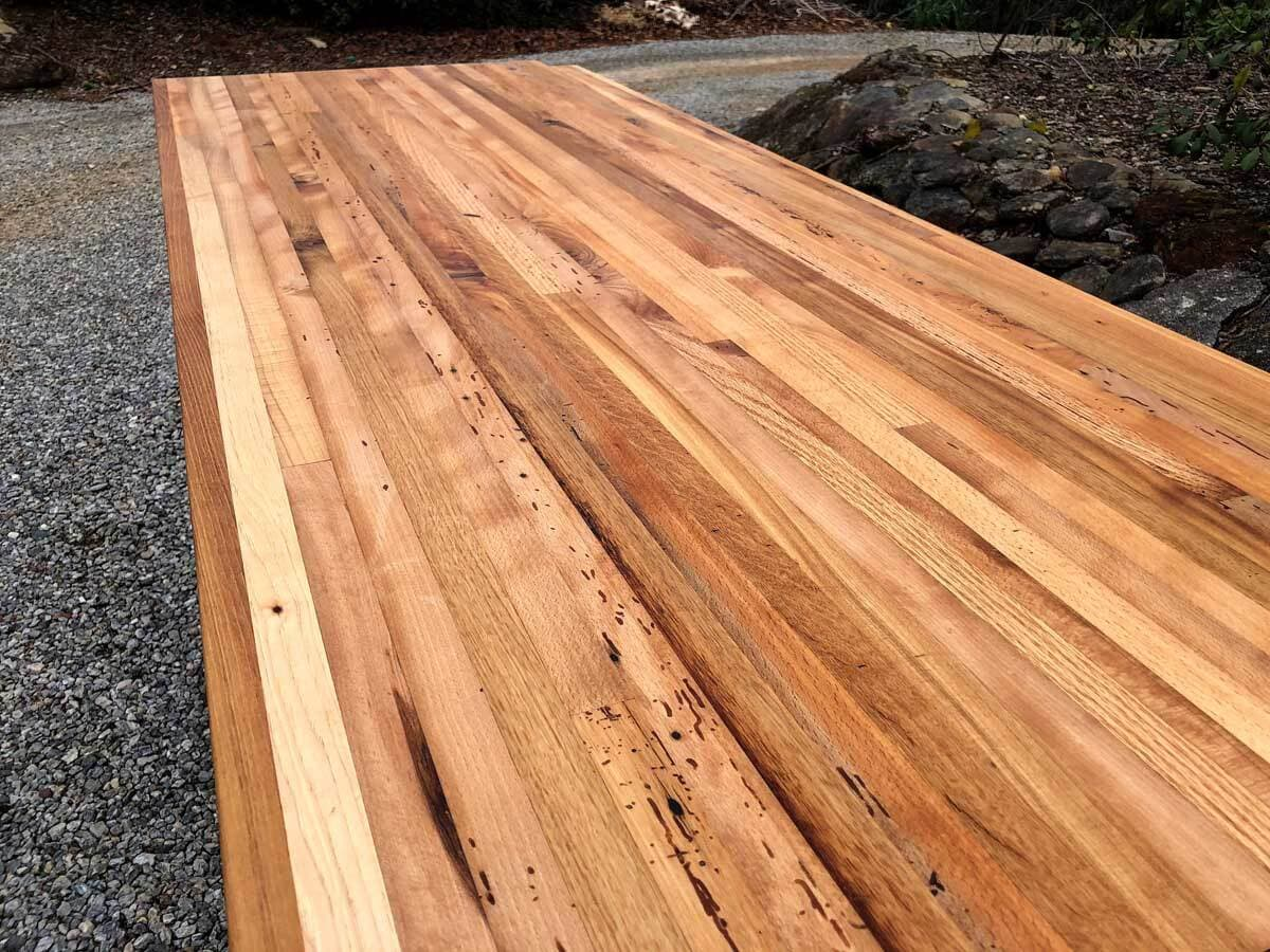 Reclaimed wood to be used for custom countertops.
