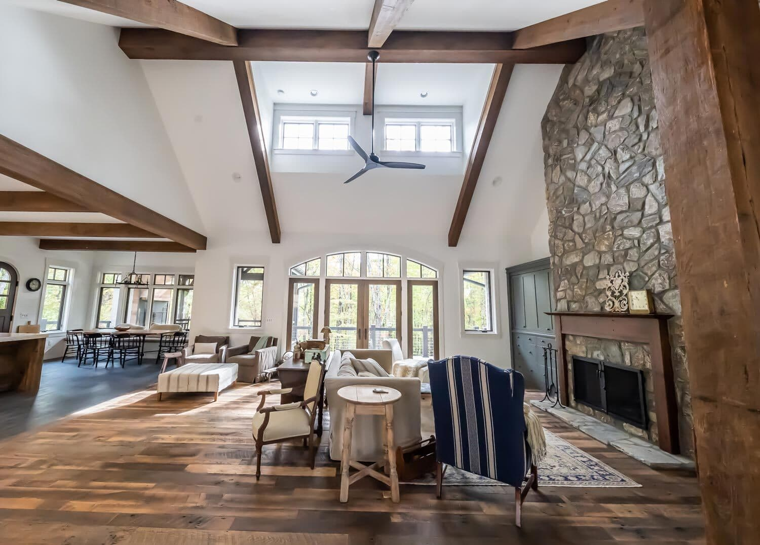 Example of reclaimed wood throughout a great room.