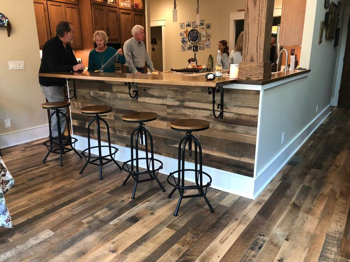 reclaimed wood bar accent wall in saluda, nc