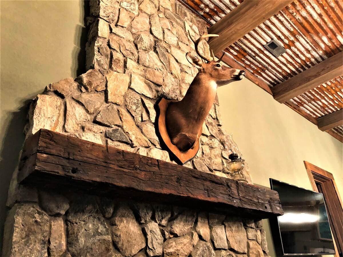 Reclaimed wood mantel hand hewn from Beech on fireplace below mounted deer.