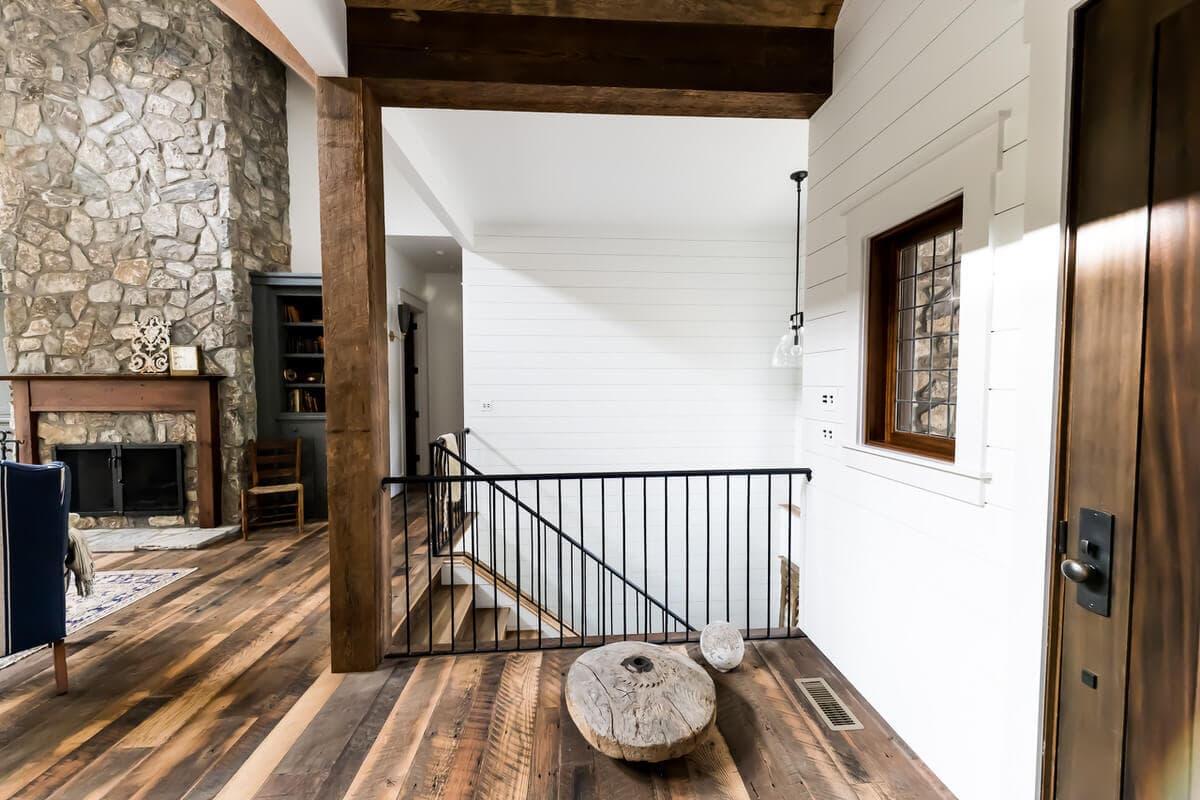 reclaimed wood beams, posts and floors framing ironwork