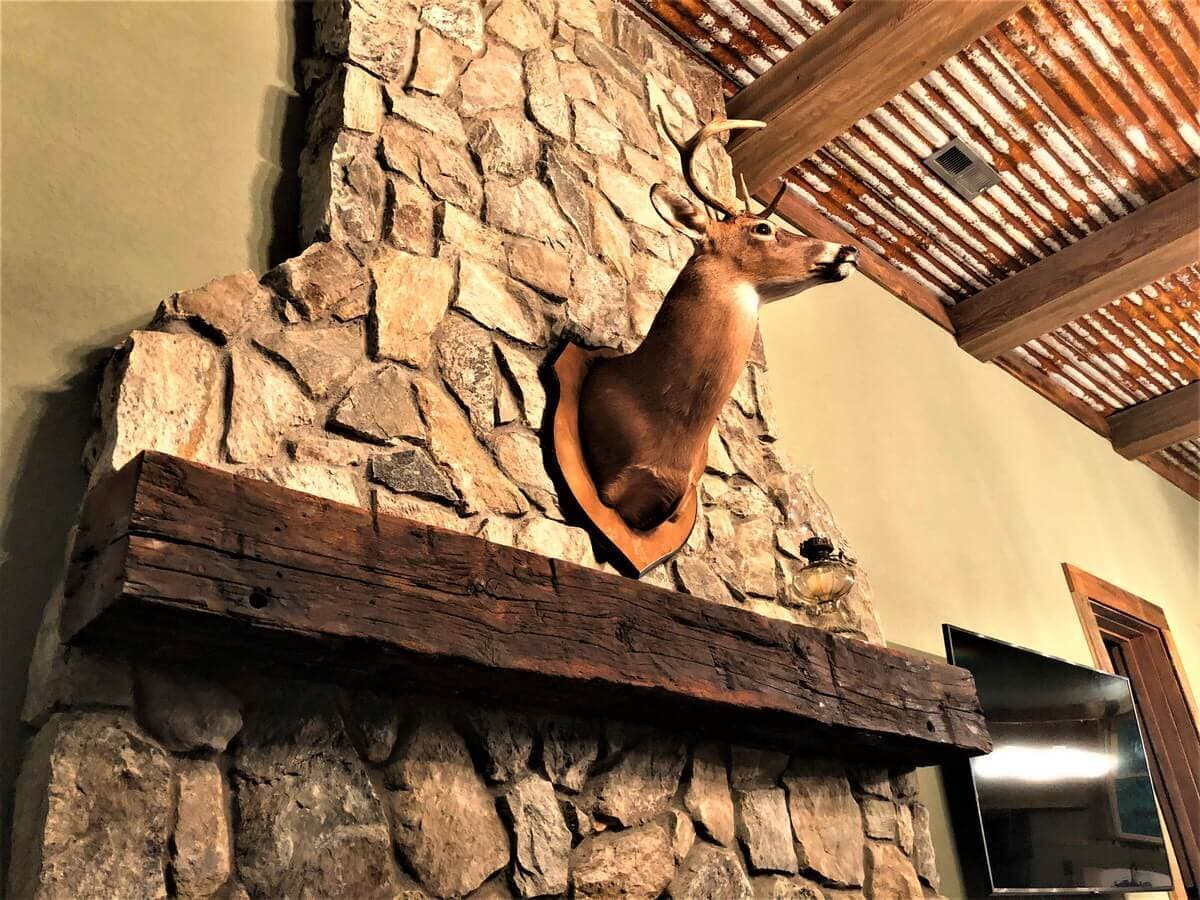 Rustic hand hewn beech fireplace mantel with deer in hendersonville nc
