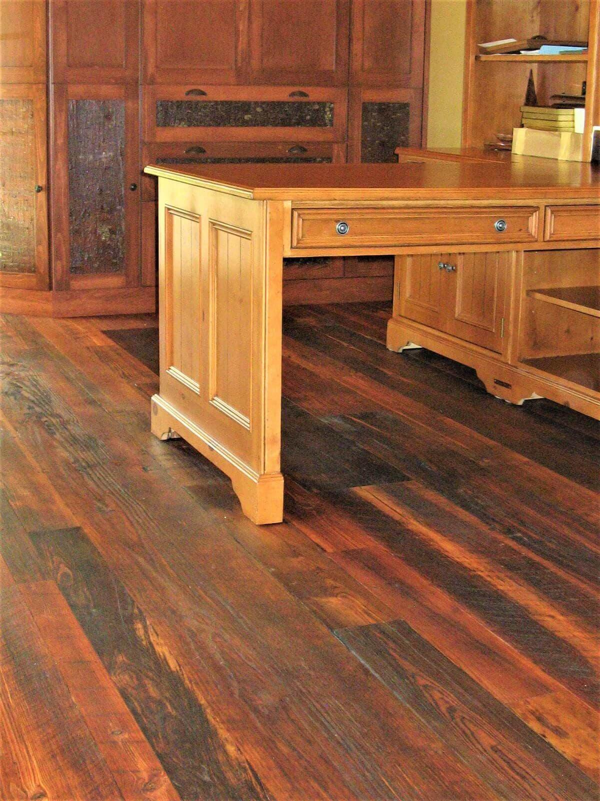 Rustic character heart pine flooring lake adger NC