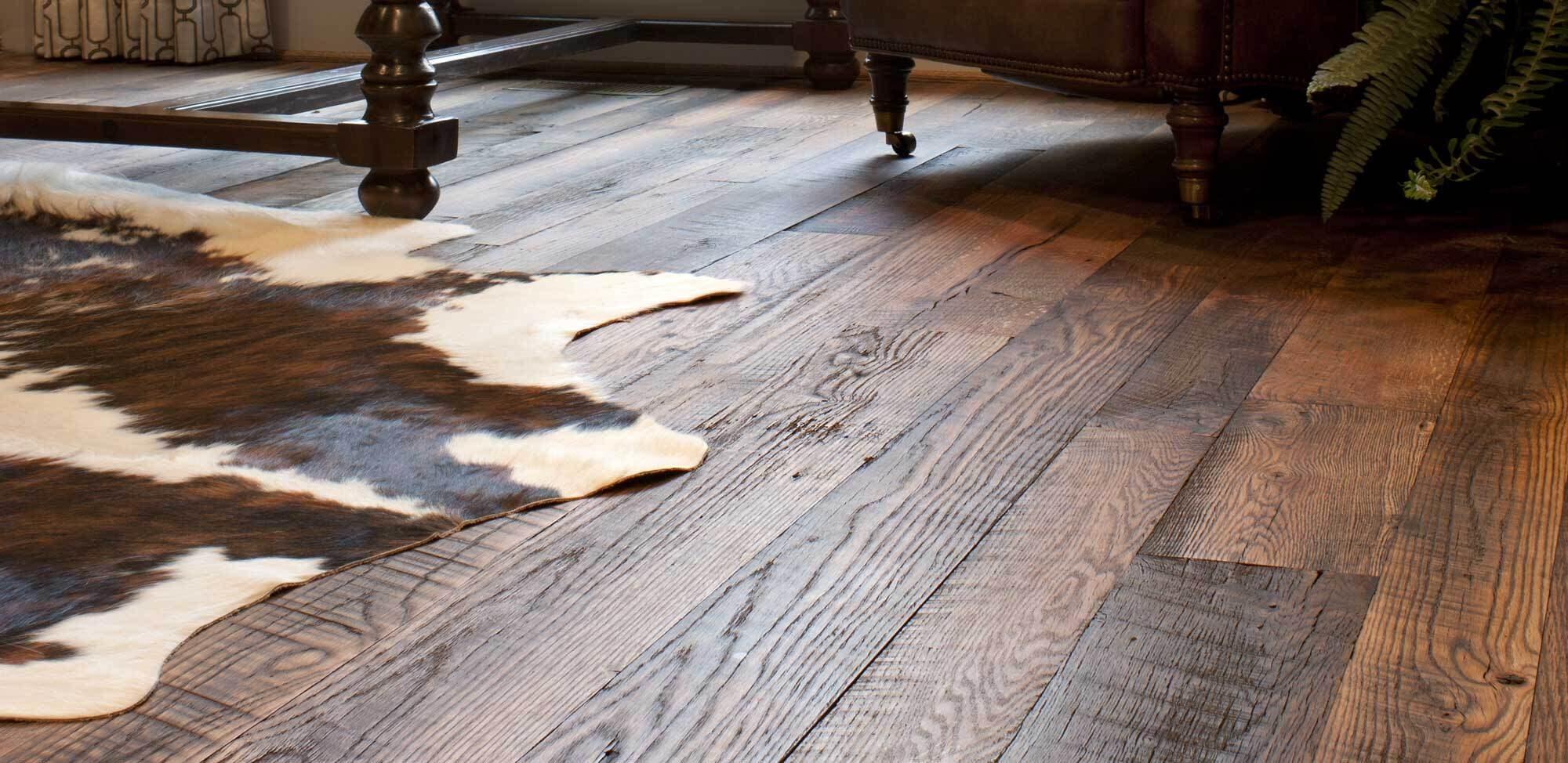 Reclaimed engineered wood flooring with rustic look.